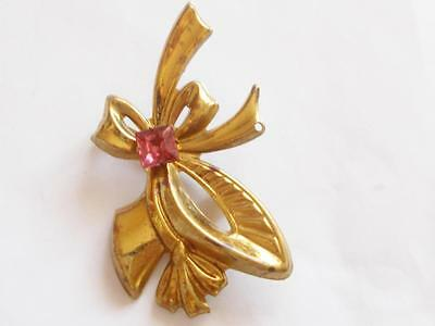 Vintage Art Deco Brass Tone Pink Glass Crystal Floral Bouquet Ribbon Brooch