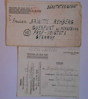 German airmans  2 prisoner of war letters home from camps, near Birmingham