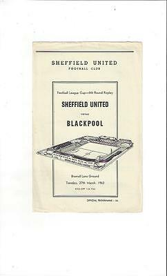 Sheffield United v Blackpool League Cup Football Programme 1961/62