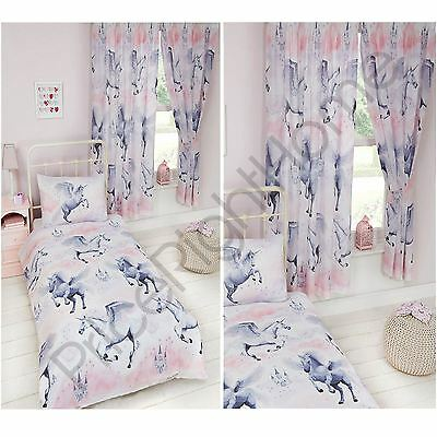 Stardust Unicorn Duvet Cover Sets & Matching Curtains Single Double Junior New