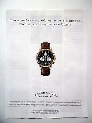 PUBLICITE-ADVERTISING :  A.LANGE & SOHNE Datograph Flyback  2015 Montres