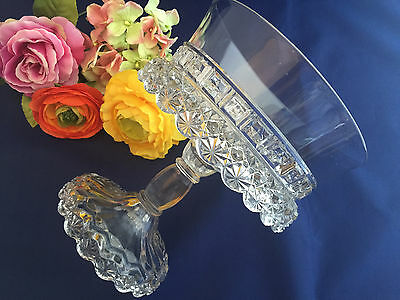 Early American Pressed Glass Starred Block Footed Bowl Compote Antique 1888