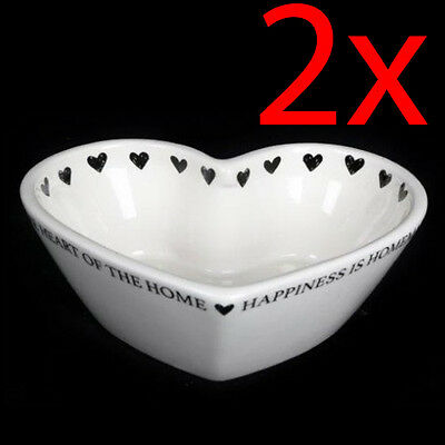 2 X Heart Shape Bowl Cereal Snacks Treats Soup Kitchen Dip Serving Plate New