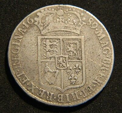 1689 William And Mary Silver Halfcrown,