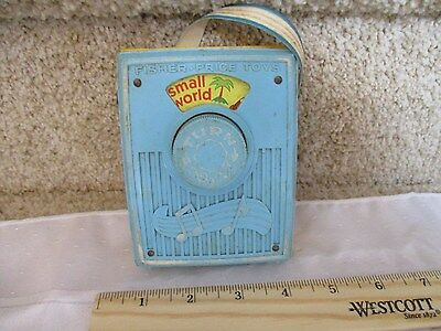 Vintage Fisher Price Pocket Radio Music Box works It's a Small World white strap