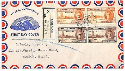 U107 1946 Barbados GB London Illustrated FDC Cover {samwells-covers}PTS