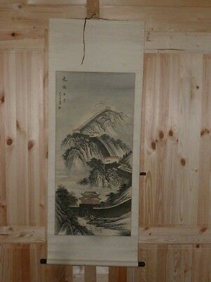 Wonderful Vintage Chinese Ink & Watercolour Great Wall of China Signed Scroll
