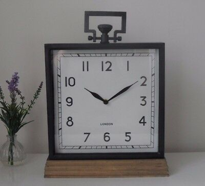 Large Vintage Industrial London Rustic Metal Wood Square Mantel Desk Clock 40 cm