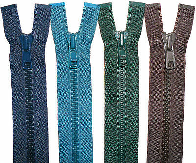 """Ykk Zips Chunky Teeth Plastic, Open End, Numb 5, Various Cols, Size (21"""" To 27"""")"""