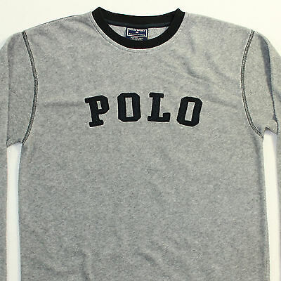 • Vintage 90s POLO SPORT Ralph Lauren Gray Fleece Spell Out Pullover Shirt M