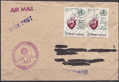 Nepal 1972 Deutsche Everest Lhotse Expedition cover + letter Archiv Himalaya