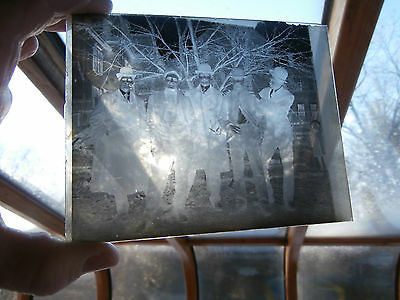Antique Photographic Dry Plate Glass Negative Of Group of Men  1890-1900's