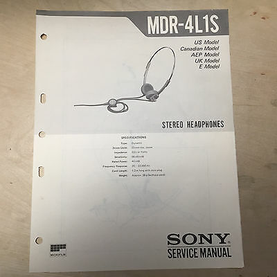 Sony Service Manual for the MDR-4L1S Headphones ~ Repair