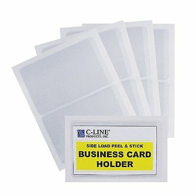 C-Line Self-Adhesive Business Card Holders, Side Loading, 2 x 3.5 Inches, Clear,