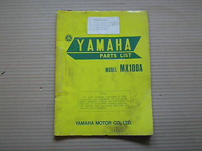 Yamaha MX 100 MX100 MX100A genuine parts list 427-60 May 1973 good USED