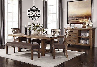 WESTIN - 6pcs Transitional Brown Rectangular Dining Room Table Bench Chairs Set