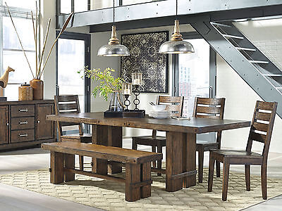 PARKVIEW - 6pcs Modern Brown Rectangular Dining Room Table Chairs Set Furniture
