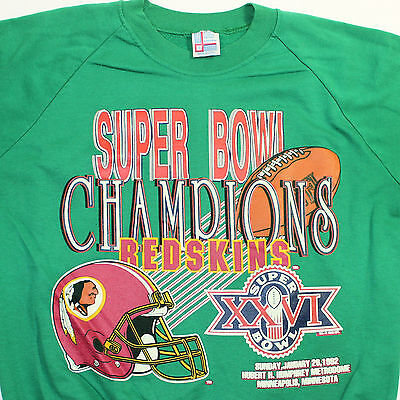 • Vintage 90s WASHINGTON REDSKINS Super Bowl Champions Green Sweatshirt Large L