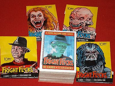Fright Flicks-Topps Picture Cards 1987-Full Set+Stickers+Wrappers-Great-Vintage