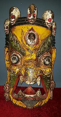 Old Antique Vntage Tibetan Nepalese very large antique carved wooden mask