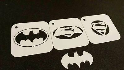 SUPERHERO Set of 3pcs Stencils BATMAN SUPERMAN SPIDERMAN Kids Party Face Paint