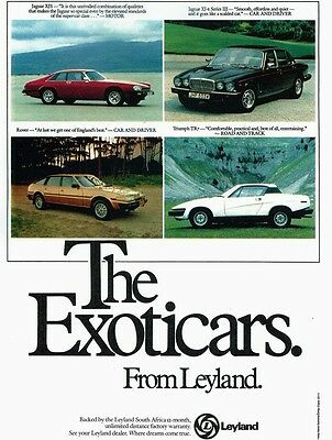 Classic Car Advert High Gloss A4 Print The Exoticars From Leyland TR7 Jaguar XJ