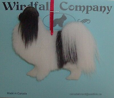 Black White Japanese Spaniel Chin Dog Plush Canine Christmas Ornament # 2 by WC