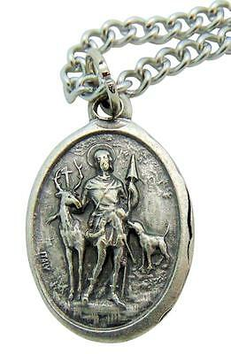 "St. Hubert Patron Saint Metal 3/4"" Italy Medal w/ Chain Pendant Necklace"