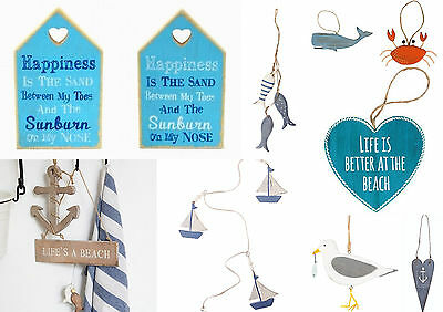 NAUTICAL HOME DECOR Seaside hanging plaques Fish Boat Anchor Seagull SHABBY CHIC