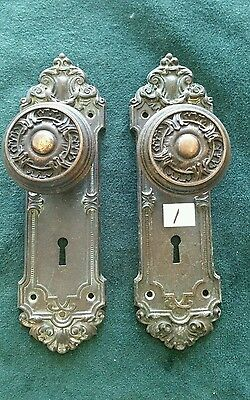 NICE VICTORIAN HEAVY CAST STEEL DOOR KNOBS AND BACKPLATES 2 1/2 by 8 inches (#1)