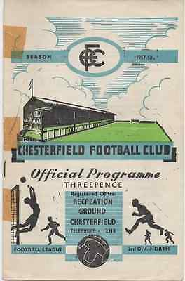 1957-1958-Chesterfield V Southport-Division 3 North Football League Programme
