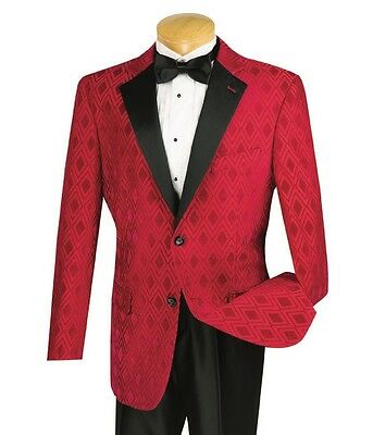 Men's Red Tonal Diamond Formal Tuxedo Suit w/ Sateen Lapel NEW Prom Wedding