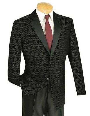 Men's Black Tonal Diamond Formal Tuxedo Suit w/ Sateen Lapel NEW Prom Wedding