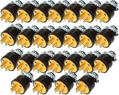 25 Heavy Duty Male Replacement Electrical Plug Ends, 3 Prong 15A, 125V, 110V
