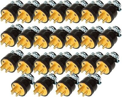 Lot of 25 Heavy Duty Male Replacement Electrical Plug 3 Prong 15A 120V Wholesale