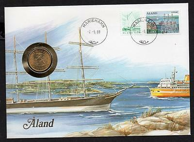 Aland Islands 1988 20 Pennia Coin Cover