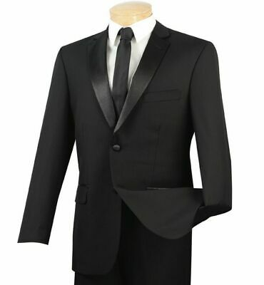 VINCI Men's Black Classic Fit Formal Tuxedo Suit w/ Sateen Lapel & Trim NEW