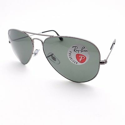 Ray Ban RB 3025 004/58 Aviator Gunmetal G15 New Authentic Sunglasses