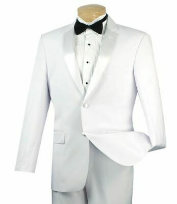 VINCI Men's White Classic Fit Formal Tuxedo Suit w/ Sateen Lapel & Trim NEW