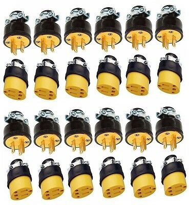 24 pc. Male & Female Extension Cord Replacement Electrical Plugs, 15AMP 125V End