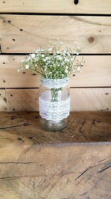 10 x Glass Lace Decorated Jars Vases Vintage Wedding Centrepiece Shabby Chic