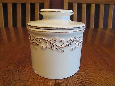 L Tremain Antique Ivory Rose Butter Bell Crock Keeper Embossed Leaves Scrolls