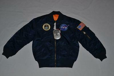 Alpha Boys Ma-1 Flight Bomber Jacket Patches Reversible Navy Blue Youth Small 8