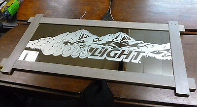Coors Light Beer Rocky Mountains Frosted Mirror Bar Adverstising Sign