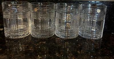 Ralph Lauren Glen plaid double old fashioned 4 bar glasses crystal whiskey new