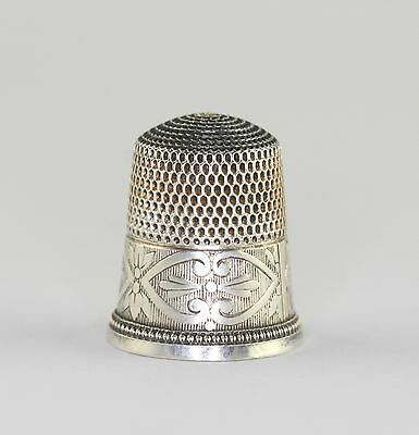 Antique Simons Brothers Sterling Silver Side Heart BookPiece Thimble Sz 9