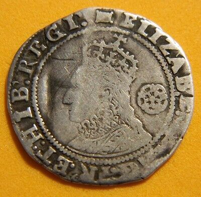 Tudor Period 1594 Elizabeth 1St Silver Sixpence Rose Beside Bust.