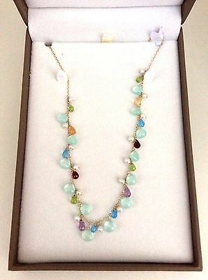 Freshwater Pearls 14ct Yellow Gold Necklace with Gemstones - QVC - New