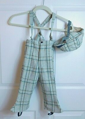 1950s Vintage Wool Plaid Little Boys Snow Pants with Stirrups and Matching Hat