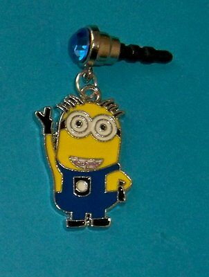 Cell Phone Anti Dust Plug Cover Crystal Cellphone Dangle Charm Minion #2